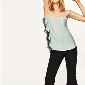Zara basic camisole tank top mint lace NWT medium